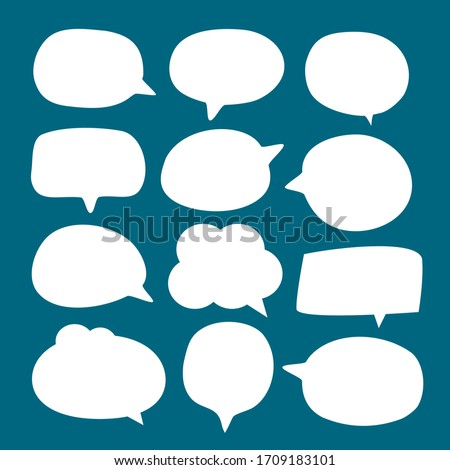 set of blank white speech bubble in flat design, sticker for chat symbol, label or tag Foto stock ©