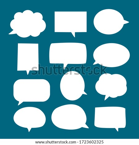 set of blank white speech bubble in flat design, sticker for chat symbol, label or tag