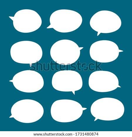 set of blank white speech bubble in flat design, sticker for chat symbol, label, tag or dialog word