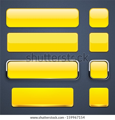 Set of blank yellow buttons for website or app. Vector eps10.
