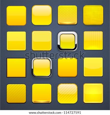 Set of blank yellow square Yellow Square Logos