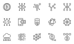 Set of Blockchain Technology Line Icons with Digital Currency, E-wallet, Electronic Purse, International Transactions and more. Editable Stroke. 48x48 Pixel Perfect.