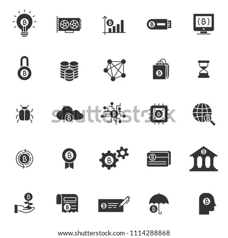 set of blockchain tecnology icons, with simple glyph black ill style, use for business web icon, analyst, bitcoin, business, cryption, digital business, marketing, e money, cryptocurrency.