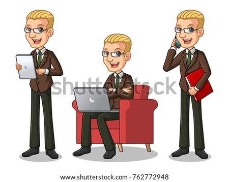 set of blonde businessman in