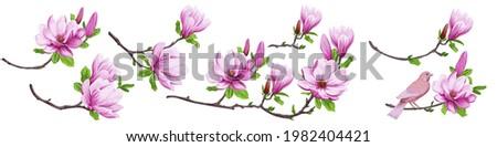 set of blooming japanese
