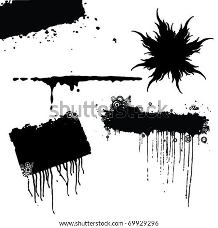 Set of blots and stains. Stains and blots are made by ink on a paper.