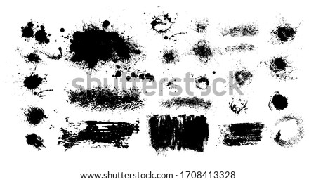 Set of blots. Black spots of paint on a white background. Grunge frame of paint. Vector Stockfoto ©