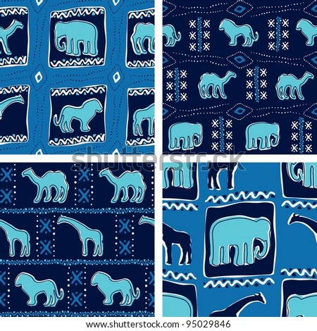 Set of blue Africa-themed seamless patterns (eps10); jpg version also available