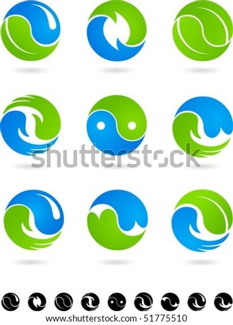 Set of  blue and green Yin Yang symbols