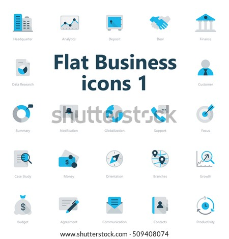 Set of blue and grey flat business icons isolated on light background.