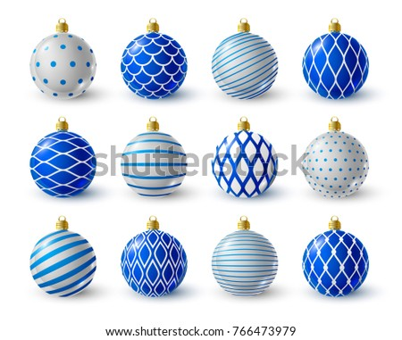 set of blue and white christmas