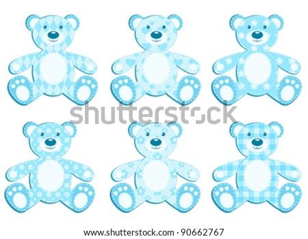 Set of blue applique bear. Vector illustration.