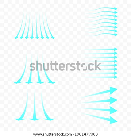 Set of blue arrow showing air flow. Blue stream of cold air from the conditioner. Clean fresh air flow. Wind direction. Isolated on transparent background. Foto stock ©