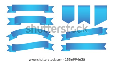 set of blue banner,blue  Web Ribbons With Gradient Mesh on white background,Vector illustration. Place for your text. Ribbons for business and design. Design elements