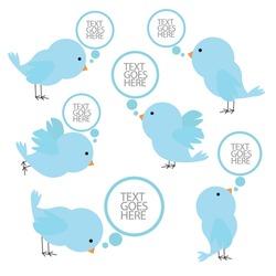 set of blue birds with speech bubbles. vector