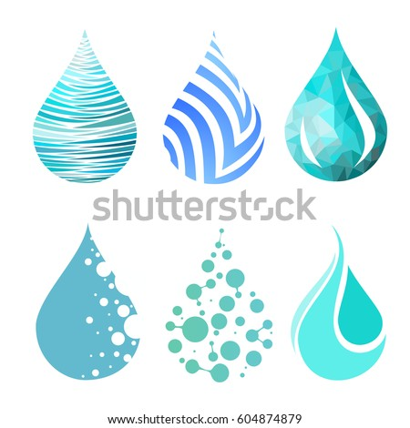 Set of blue bright different water drop icons. water drop logo. vector. symbol