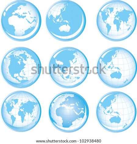 Set of blue buttons with Earth globes