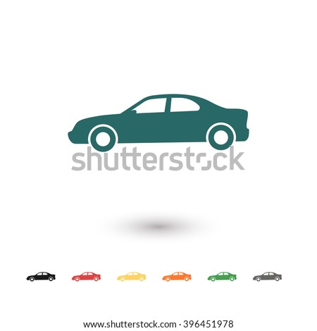 set of  blue car vector icon