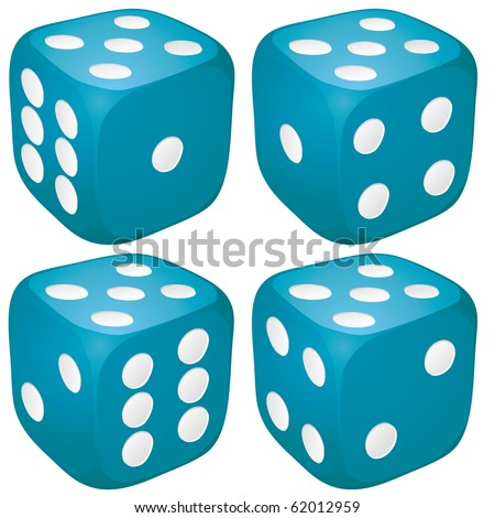 Set of blue casino craps, dices with five points, dots number on top, vector illustration