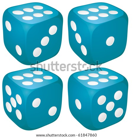 Set of blue casino craps, dices with six points, dots number on top, vector illustration - stock vector