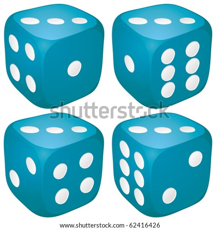 Set of blue casino craps, dices with three points, dots number on top, vector illustration