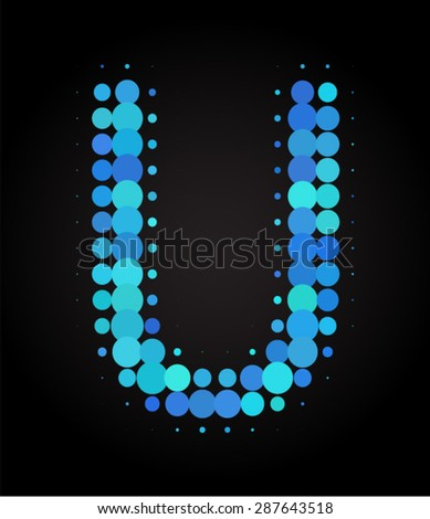set of blue dot letters u