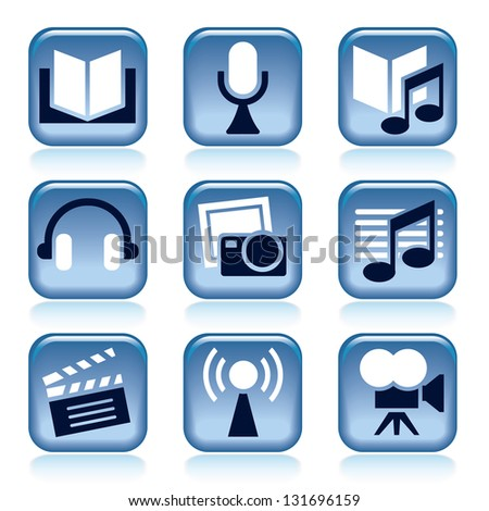 Set of blue entertainment icons over white background