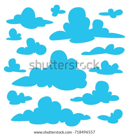 set of blue fluffy clouds