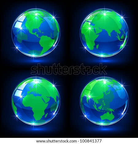 Set of blue globes on dark background, illustration