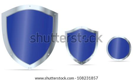 Set of blue glossy steel shields