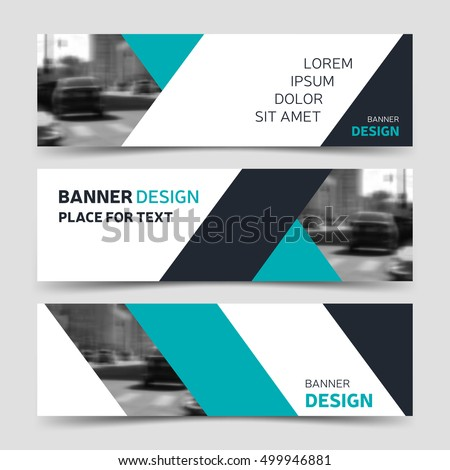 Set of blue horizontal business banner templates. Vector corporate identity, website design, modern abstract background layout, eps10 #499946881