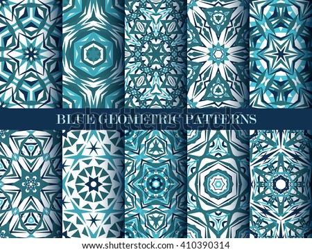 Set of blue kaleidoscope seamless patterns. Decorative mandala ornaments. Geometric design elements. Water wallpaper, fabric, furniture, paper print. Abstract vector flowers and stars. Elegant style