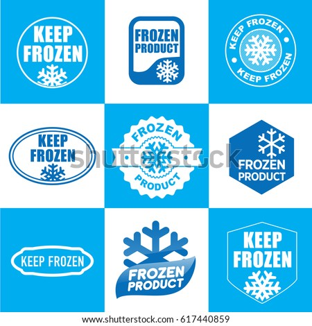 Set of blue keep frozen product badges, stickers with snowflake vector.