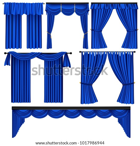 Set of blue luxury curtains and draperies on white background realistic vector illustration  sc 1 st  Vecteezy & Window Curtain Vector Set - Download Free Vector Art Stock Graphics ...