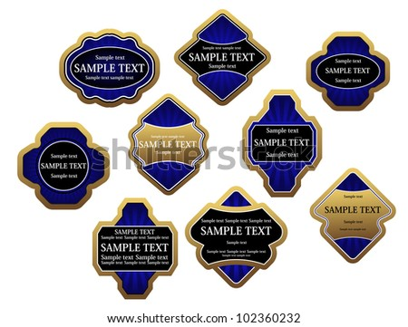 Set of blue luxury labels and banners with gold frames, such logo. Jpeg version also available in gallery