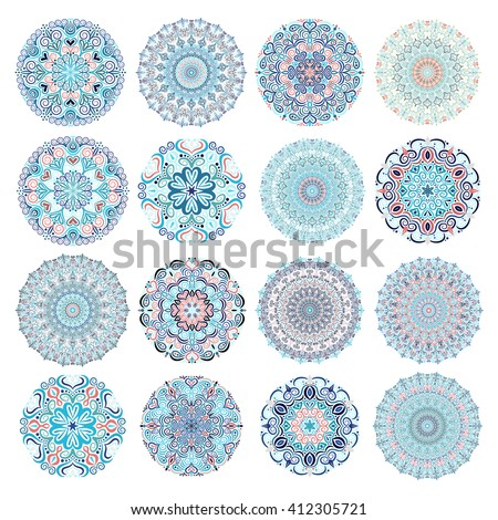 set of blue mandalas