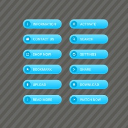 Set of  blue modern buttons for web site and ui. Vector icon button design.