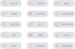Set of blue modern buttons for web site and ui. Vector icon button design, isolated on white background.
