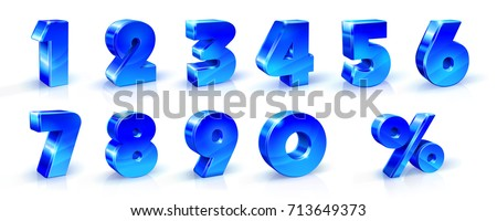 Set of blue numbers 1, 2, 3, 4, 5, 6, 7, 8, 9, 0 and percent sign. 3d illustration. Suitable for use on advertising banners posters flyers promotional items, Seasonal discounts Black Friday etc.