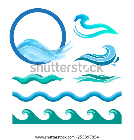 set of blue ocean waves vector