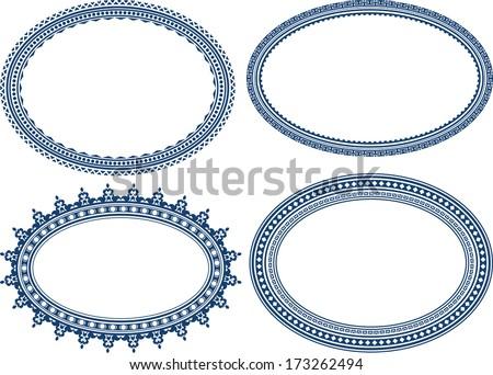 Set of blue oval frames