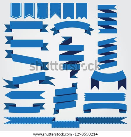 set of blue ribbon baner icon on gray background