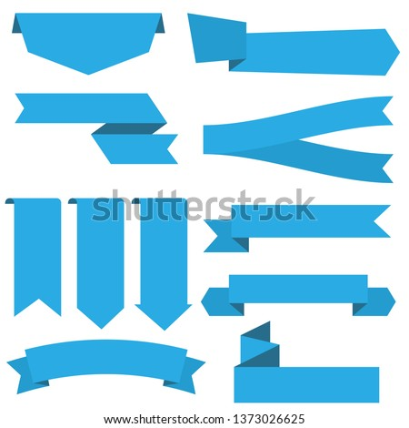 set of blue ribbon banner icon,ribbon vector banner, on white background #1373026625