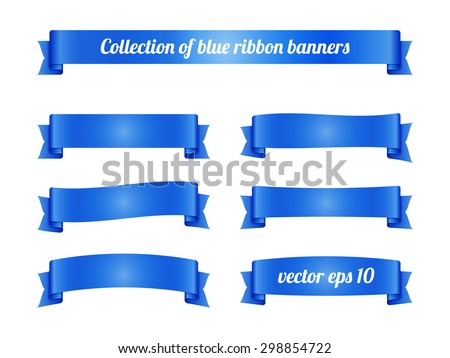 Set of blue ribbon banners for promotion. Collection of retro scrolls elements for design. Vector illustration.