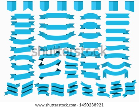 set of blue ribbon. Vector design light blue ribbons on background.