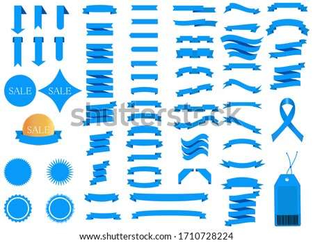 Set of blue ribbons for design, discount offer and gift. Retro style. Flat ribbon illustration isolated on white background.