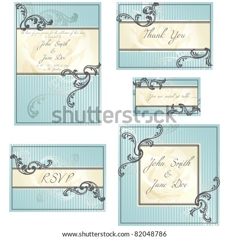 Set of blue Rococo wedding designs (eps10); jpg version also available