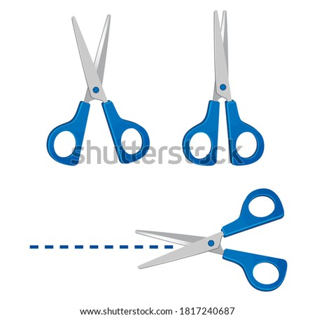 Set of blue scissors. Icons for open and closed scissors. Scissors cut along the line. Bright objects in flat style. vector illustration.