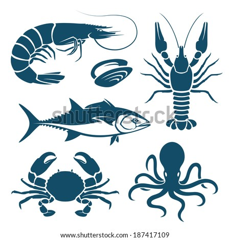 set of blue seafood symbols