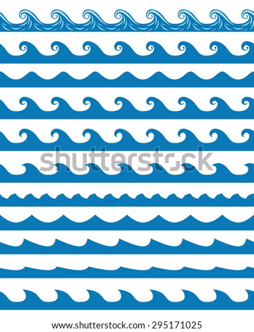 set of 11 blue seamless waves